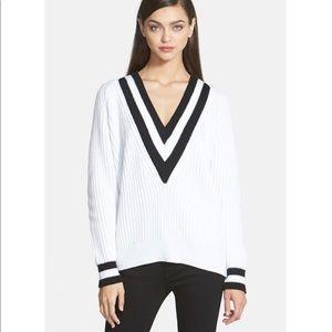 Trouvé Cricket V Neck Sweater White Black Combo